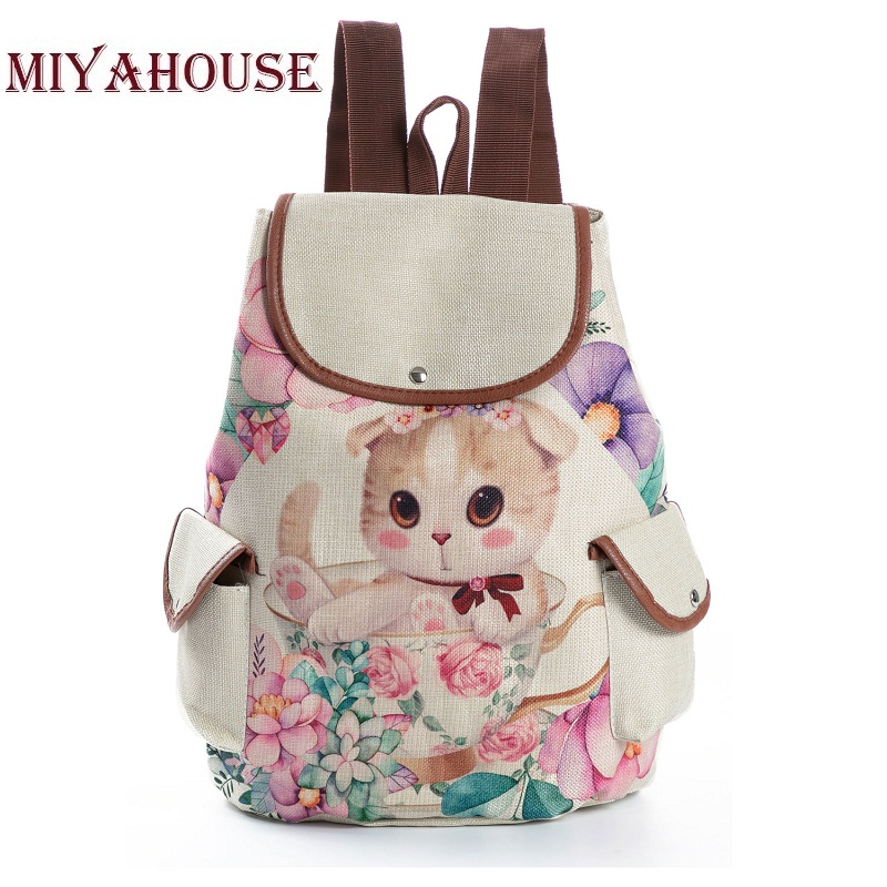 34356ca831dc Προϊόν - Casual Canvas School Backpack Female Cartoon Printed ...
