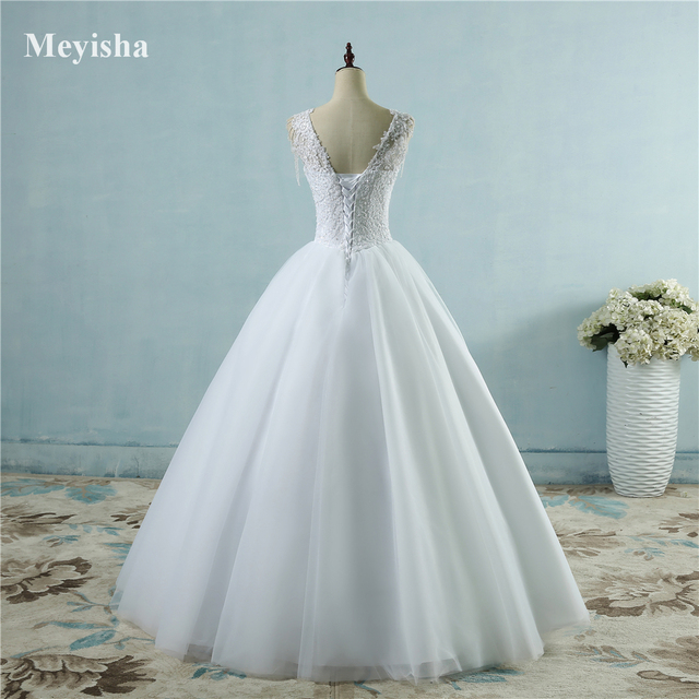 ZJ9082 Ivory White Princess Ball Pretty Lace Pearls Beads Sleeve Two Shoulder 2019 2020 Dresses Wedding Bride Gown Size 2-26W 4