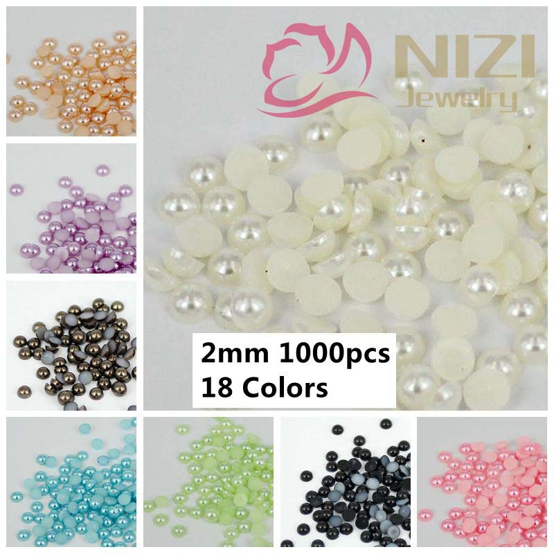 Half Round Pearls 2mm 1000pcs Many Colors Flatback Round Shiny Glue On Resin Beads DIY Jewelry Nails Art Decorations new matte gold half round pearls 1 5mm 12mm imitation machine cut flatback glue on resin beads diy jewelry making nail art phone