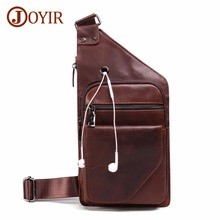JOYIR Men Bag Messenger Bag Genuine Leather Vintage Men Chest Pack Single Shoulder Crossbody Bags Chest Bag For Man Handbags New joyir leather messenger shoulder bags travel genuine leather chest bag strap sling casual chest pack crossbody bags for men new