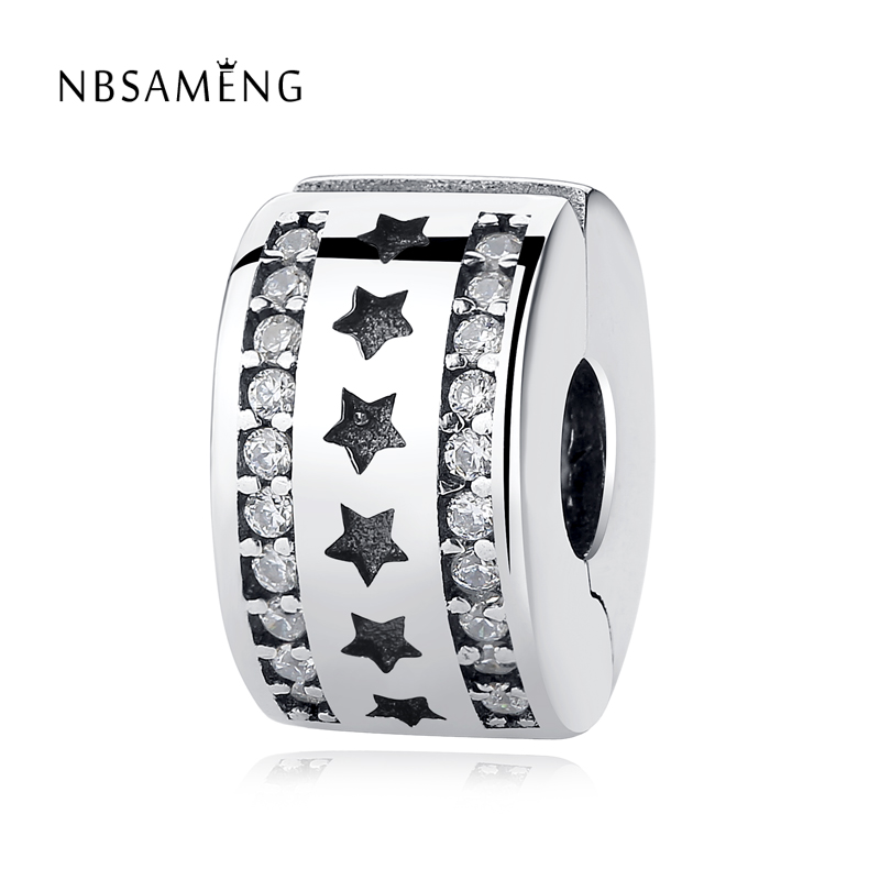 2017 NEW 100% Authentic 925 Sterling Silver Starry Formation Clip Safety Stopper Crystal Bead Charm Fit Pandora Bracelet