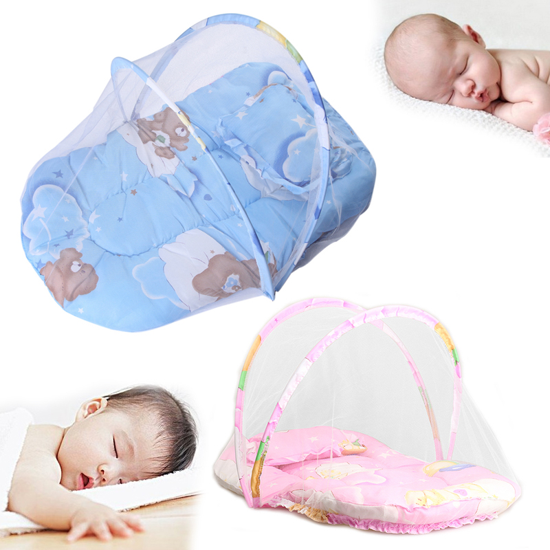 mosquito fur - New Summer Baby Mosquito Insect Cradle Net With Portable Folding Canopy Cushion+Cute Pillow Mattress Infant Bedding Accessories