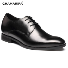 CHAMARIPA Increase Height 7cm/2.76 inch Taller Elevator shoes Black Men Dress Shoes Gentlemen shoes Hidden Height Increasing