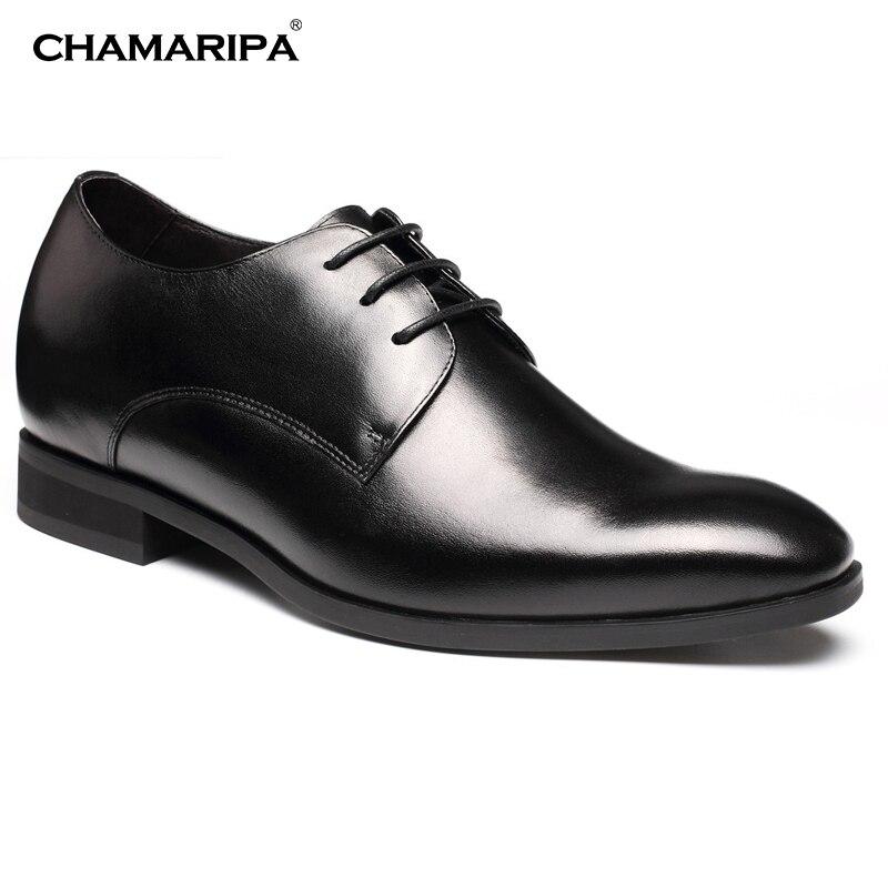 CHAMARIPA Men Elevator shoes Black 7cm/2.76 inch Increase Height Taller Dress Shoe Gentlemen Hidden Heel H62D16K022D chamaripa increase height 7cm 2 76 inch elevator shoes increase height shoes men business formal black shoes
