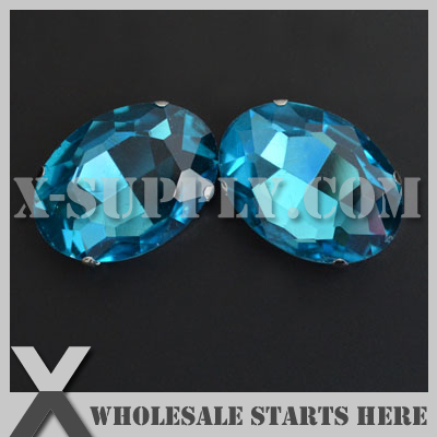 DHL Free Shipping Preset Mounted Crystal Rhinestone Oval 22x30mm <font><b>Aquamarine</b></font> in NICKEL Sew on Setting for Bag,Shoe,<font><b>Jeans</b></font>
