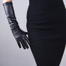 Female Leather Sheepskin Wool Color Matching Gloves 44cm Long WomenS Black Straight Canister Stitching TB54