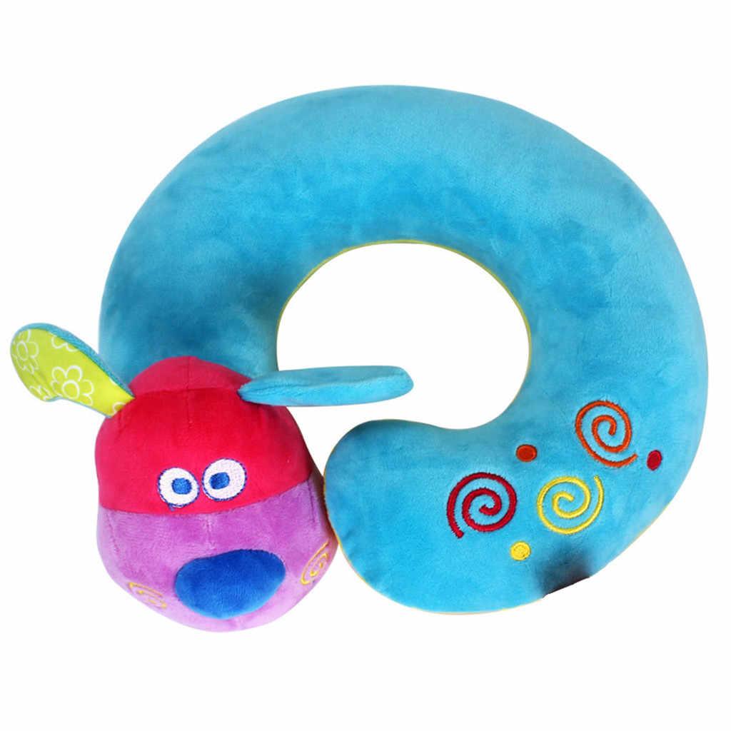 Bebé algodón suave en forma de U cojín de cuello de felpa protección del cuello del sueño cuello de dibujos animados soporte lindo encantadores almohadas de viaje para los niños