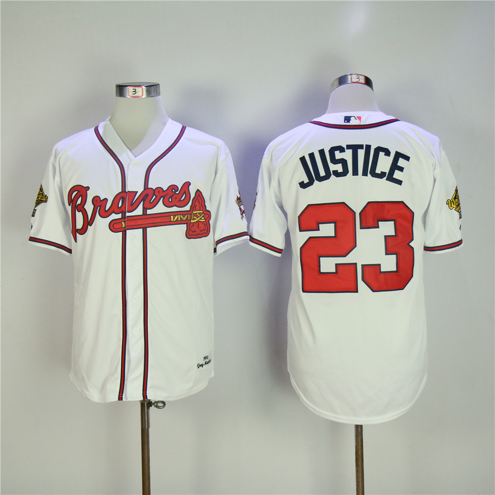 MLB Mens Atlanta Braves David Justice 1995 World Series patch Player Jersey ...