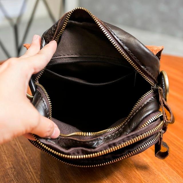 """Qualidade de couro original masculino casual ombro messenger bag moda cruz-corpo saco 8 """"almofada tote mochila saco 144 6"""