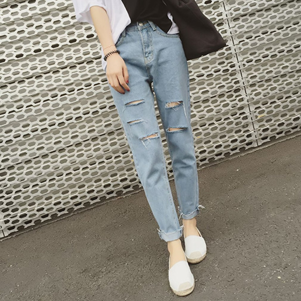 Summer Preppy style Women Ripped Denim Pants Casual Loose Slim Fit Ankle-Length Jeans Pants Female Torn Hole Denim Trousers  women summer loose zipper jeans 2017 high quality denim trousers female new retro slim type denim pants pockets scratched