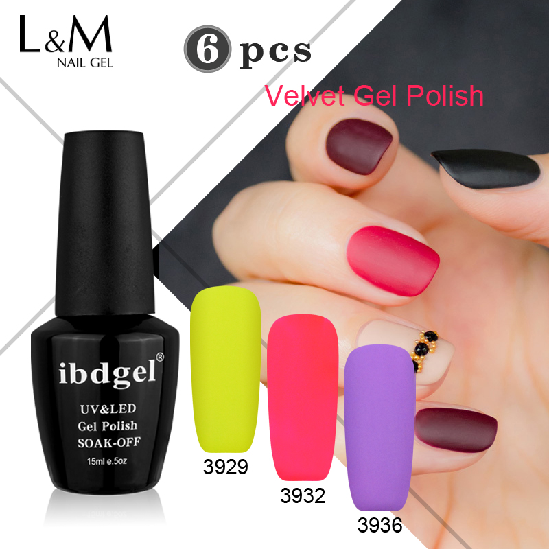Venta al por mayor 6 piezas de terciopelo mate gel ibdgel Brand (1Base Coat + 5 colores) UV Nails Polish Set Nails Gel Professional Lacquer 48 colores