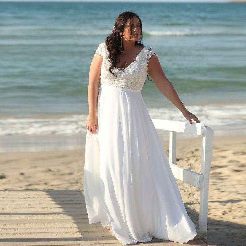 LORIE Wedding Dress Beach Plus Size V Neck Appliques Lace  Boho Bride Dress Chiffon White Ivory Wedding Gown Free Shipping 2019
