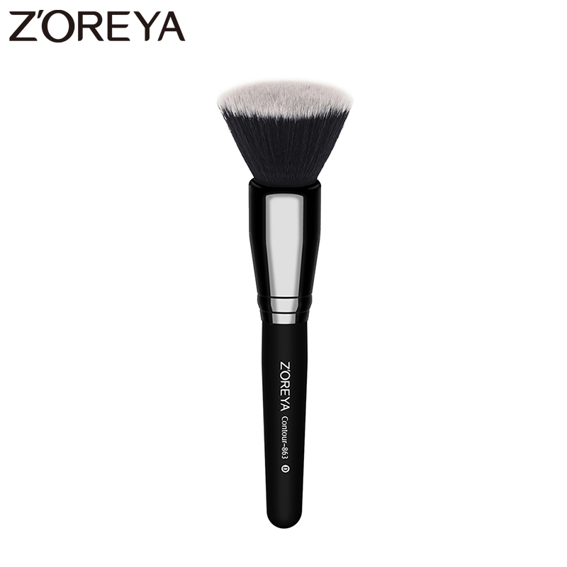 ZOREYA Brand Super quality 1pcs Professional Flat Nylon Contour Brush Face Blending Blusher Makeup Brushes 1 5mm 2mm 3mm gold silver hot fix flatback half round nail art rivet punk rock style for 3d nail art decoration