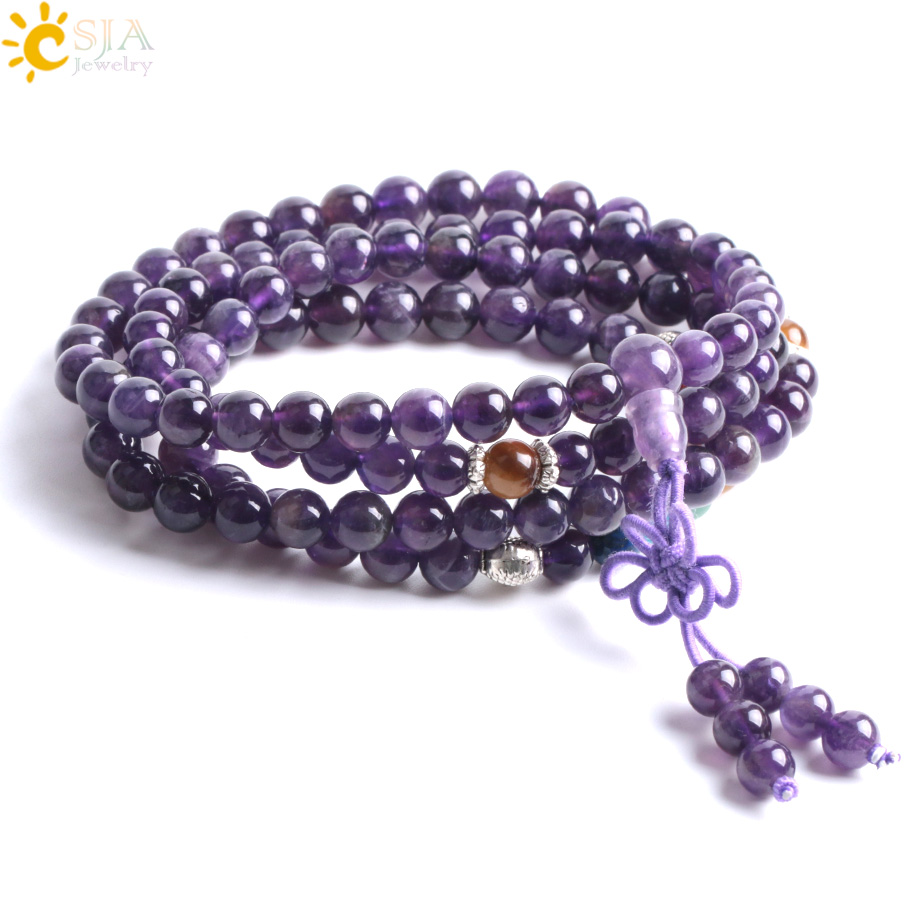 CSJA Multi-layer Purple Crystal Guardian Stone Bracelets Bangles 108 Natural Mala Beads Meditation Buddha 7 Chakras Energy F058 genuine natural leaflets sandalwood bracelets rice buddha beads hand string multi layer wood bracelet fashion jewelry