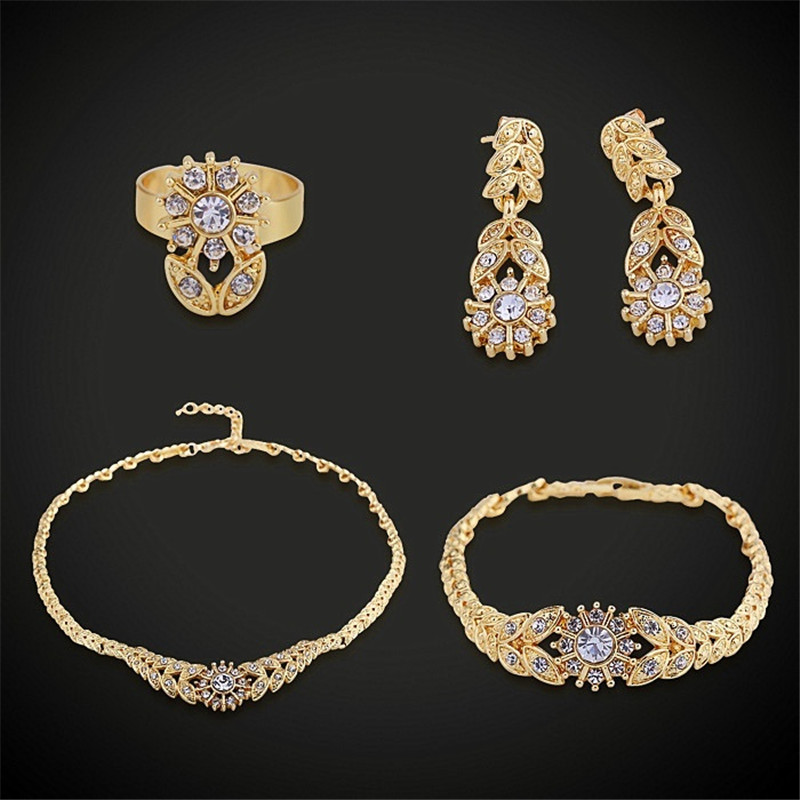 Fashion Jewerly Sets For Women Gold Color Zircon Charm Bracelet/Necklace/Earrings/Rings Set Statement Bridal Jewellery