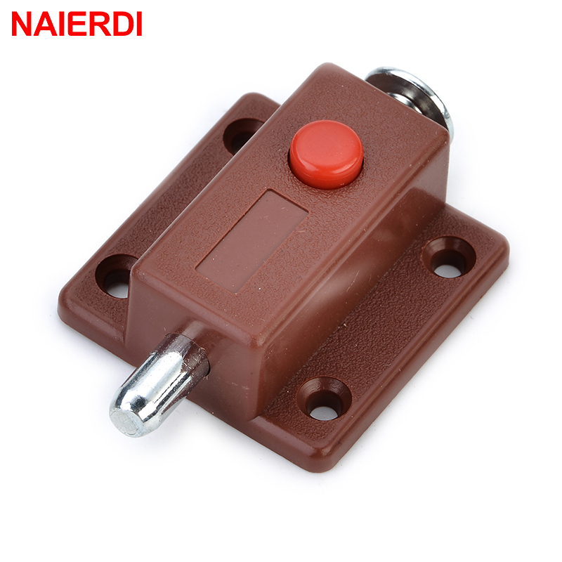 NAIERDI Automatic Furniture Bolt Door Window Cabinet Box Latch 53*35mm Drawer Cupboard Spring Lock Furniture Hardware high quality zinc alloy hasp latch lock door chain security anti theft clasp window cabinet locks for home hotel hardware k77