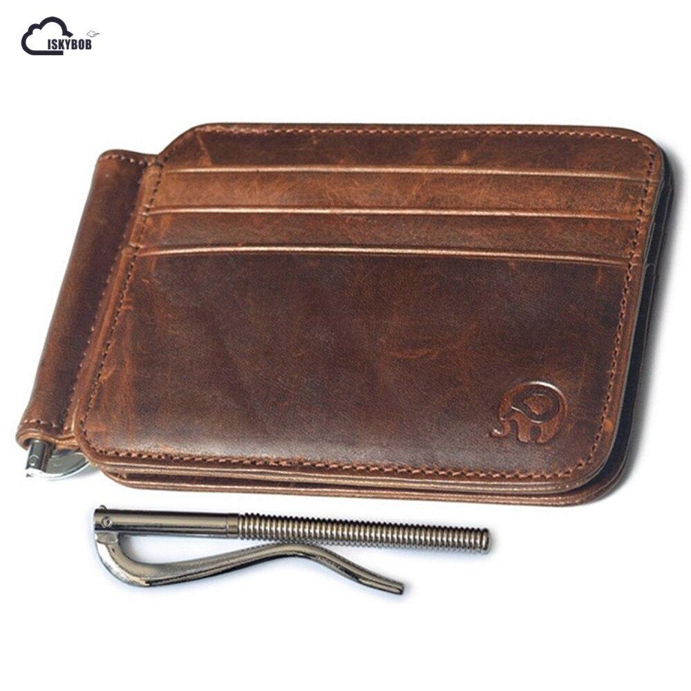 ISKYBOB Hot Leather Slim Spring Money Clip Wallet Front Pocket Credit Card Case Holder-in Card ...