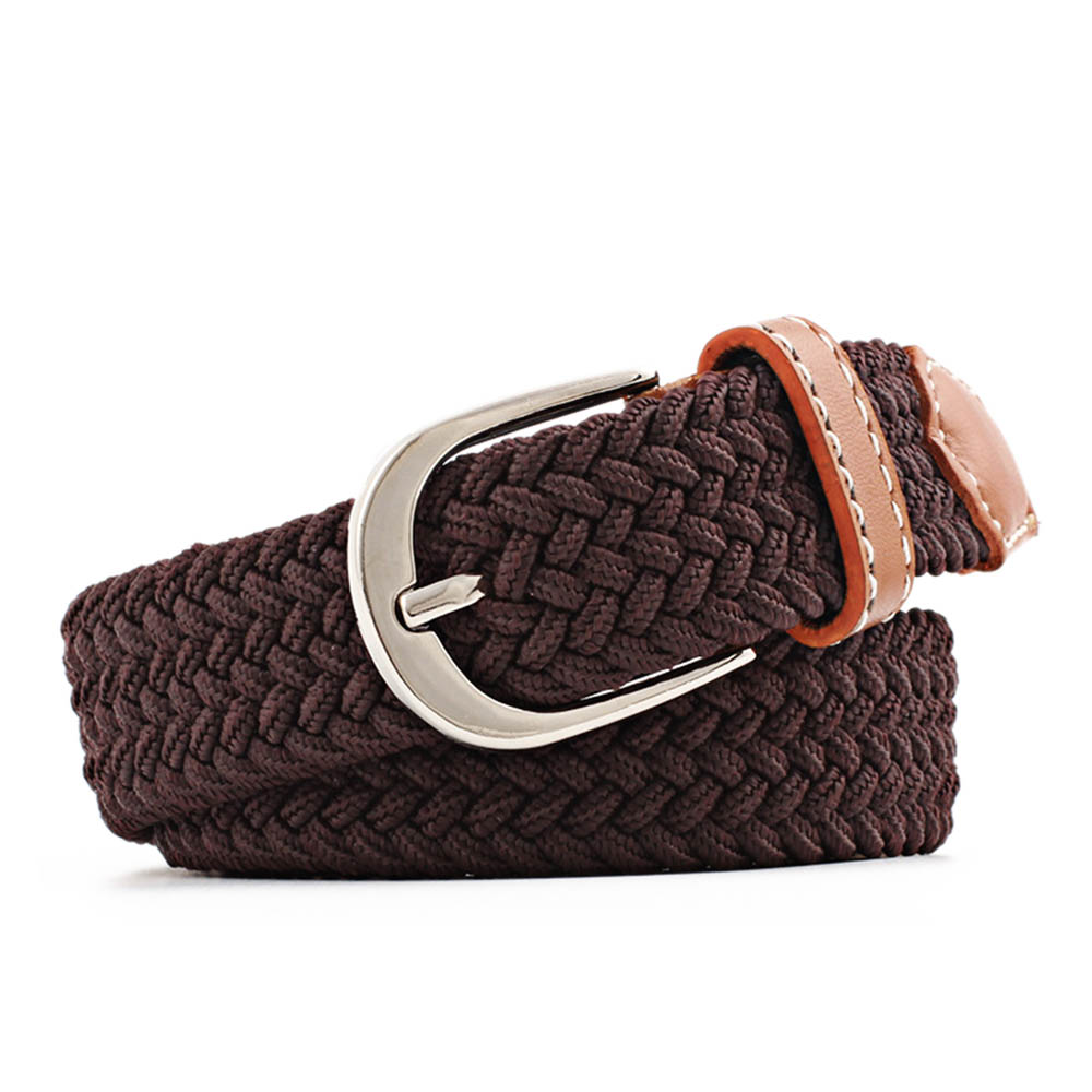 Women Casual Waist   Belt   Elastic Waistband Canvas Buckle Braided Woven Stretch Straps Unisex jeans accessories Waist   Belt