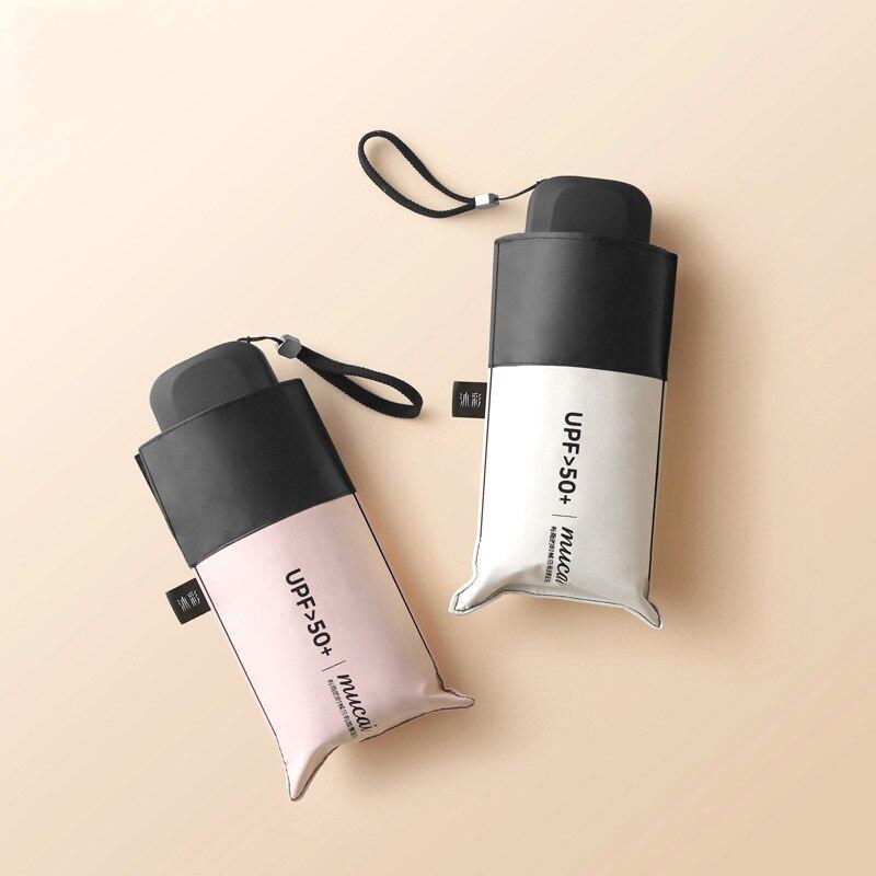 Neue Kommen Tasche Regenschirme Mini Tasche Schwärzen Beschichtung Regen und Sonne UPF50 + Flache Für Frauen Damen Kleine Kompakte Reise fashioh