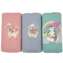 KANDRA Lovely Alpaca Long Wallet Women New Clutch Girls Zipper  Coin Purse Phone Case Card Holder Female Cartoon Money Bags