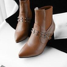 c827a39645695 2018 Women's Wild Shoes Boots Belt Buckle Single Shoes Rivet Stiletto Ankle  Boots Sapatos femininos#