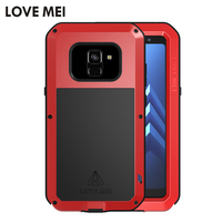 LOVE MEI Defender Case for Samsung Galaxy A8 / A8+ 2018 Metal Aluminum Powerful Dropproof Armor Case for Galaxy A8+ 2018 Coque