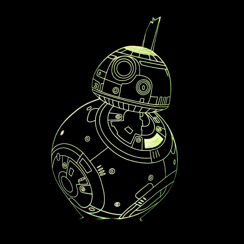 3D LED Star Wars BB8 Table Lamp Baby Sleep Night Light BB-8 Robot Creative 7 Color Changing Lighting Kids Toy Gift Bedside Decor