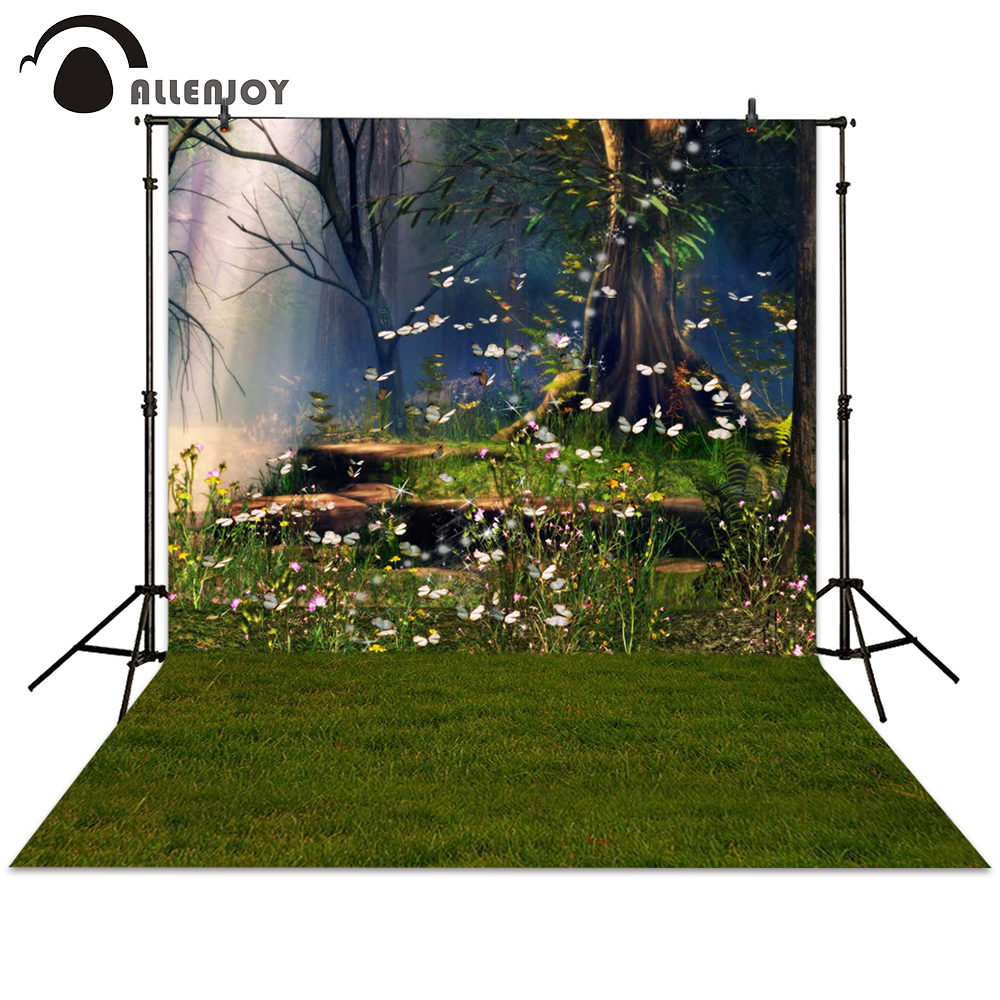 Allenjoy photography backdrop spring fairy tale butterfly tree garden background photocall photographic photo studio send rolled enchanted forest backdrop secret garden lantern fairy tale printed fabric photography background s0038