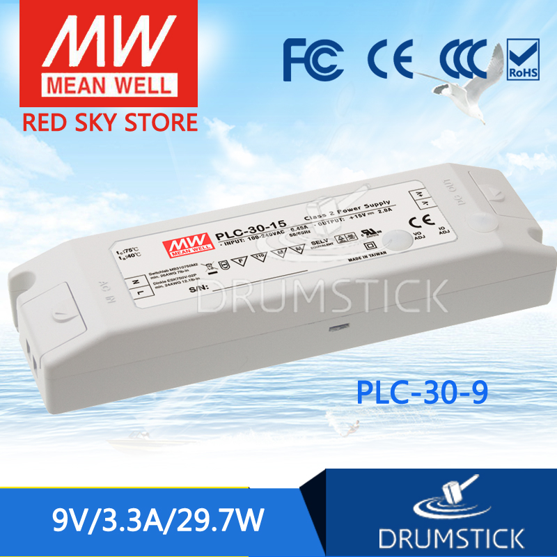 hot-selling MEAN WELL PLC-30-9 9V 3.3A meanwell PLC-30 9V 29.7W Single Output LED Power Supply plc srt2 od04