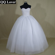 QQ Lover 2017 Bling Bling Pearls Beaded Ball Gown Wedding Dress Lace Up Back Bridal Gown Vestido De Noiva