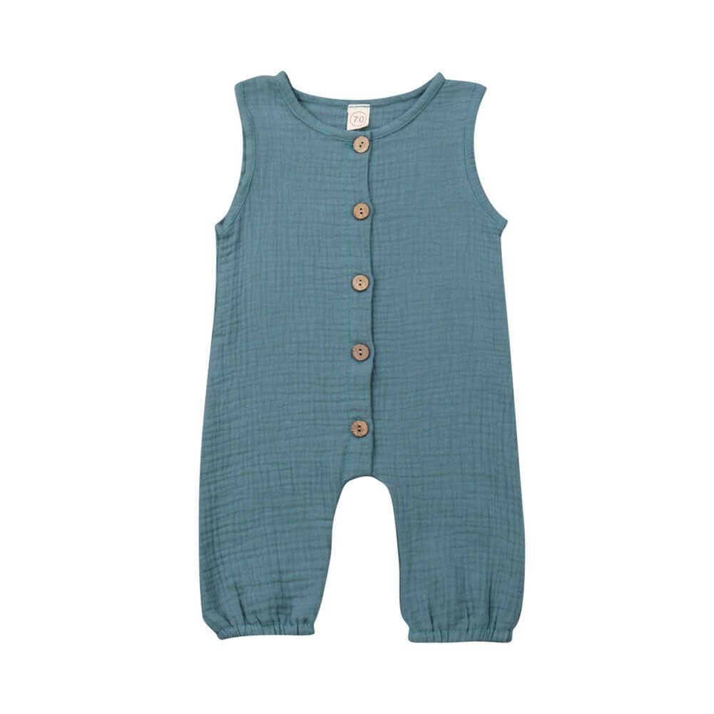 Baby Girls Boys Kids Button   Romper   Solid   Rompers   Clothes Outfits Summer