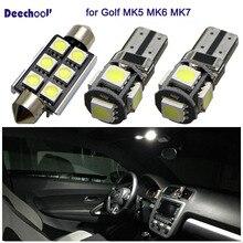 12 шт безошибочную автомобиля светодиодный лампы для VW Golf MK5 MK6 MK7 04 +, Canbus лампочка для салона авто для Volkswagen Golf 5 6 7 2004 + потолочный плафон