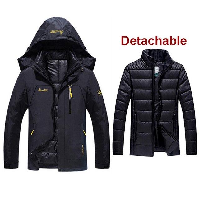c8a9216f394bd Men Winter Waterproof Fishing Thermal Warm Plus Size Trekking Hiking Camping  Skiing Climbing 3 in 1 Outdoor Jackets 6XL 9 colors