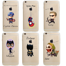 Marvel Comics DC Iron Man Spider-Man joker Batman soft silicone Phone cover Case for iphone 5S SE X 6 6S Plus 7 8