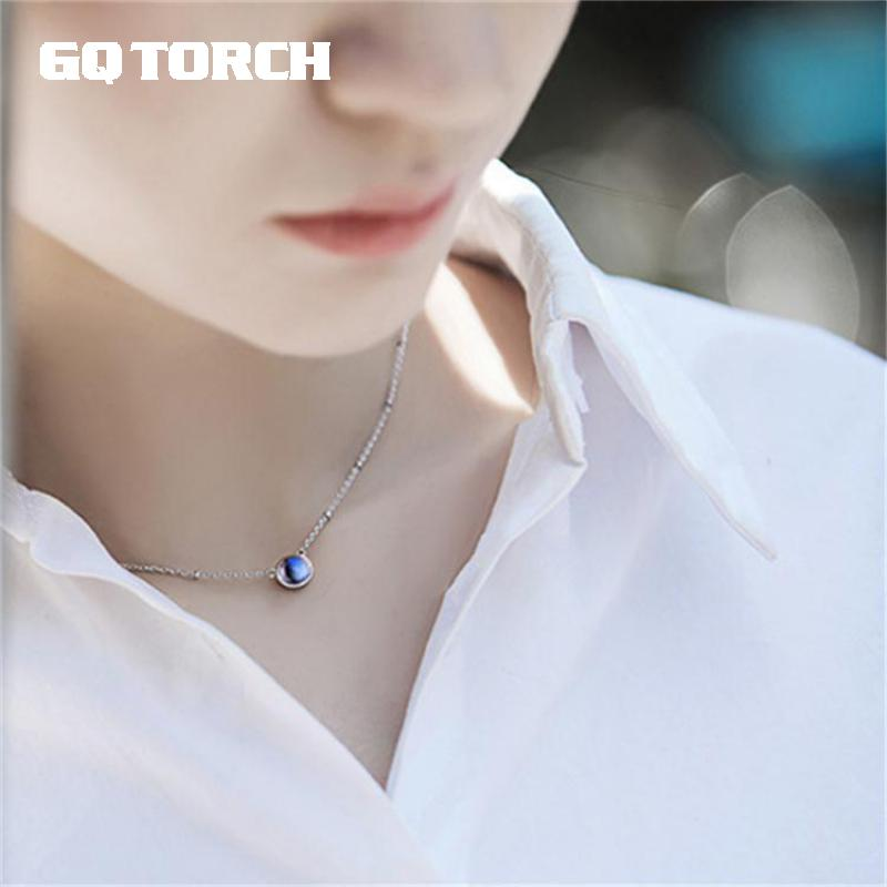 Natural Moonlight Blue Moonstone Pendant Necklace Chokers For Women 925 Sterling Silver Jewelry Colar Feminino
