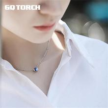 GQTORCH Natural Moonlight Blue Moonstone Pendant Necklace Chokers For Women 925 Sterling Silver Jewelry Colar Feminino