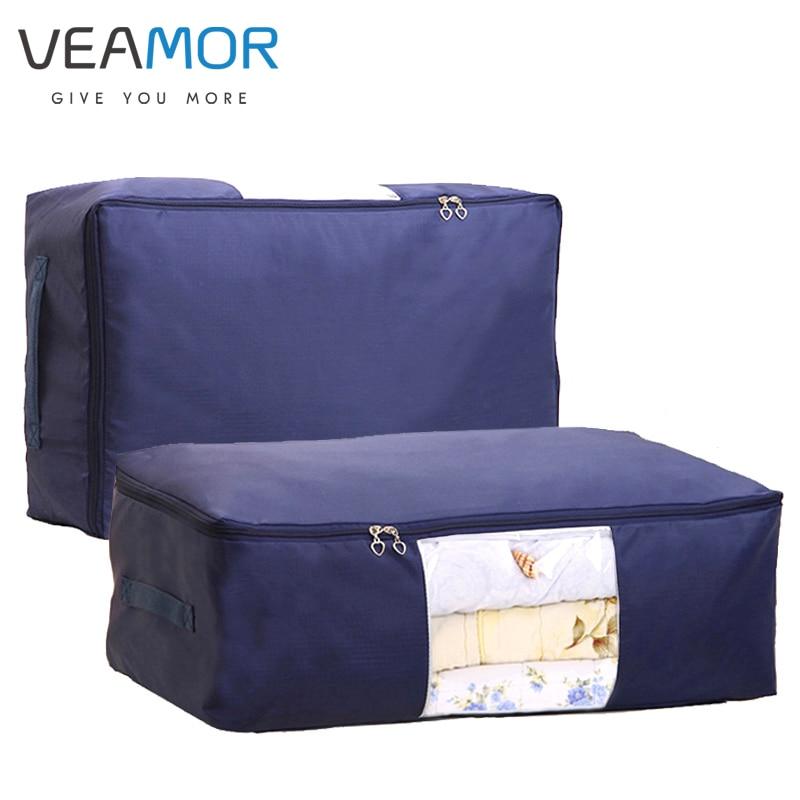 VEAMOR Oxford Quilt Opbevaringspose Sammenklappelig Plus Størrelse Comforter Container Home Storage Organizer Tæppe Tøj Opbevaring Tasker
