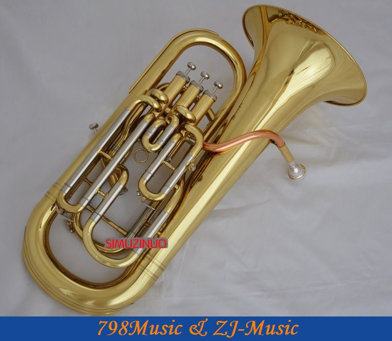Professional Gold 4 Valve Euphonium Compensating System horn With case  one horn double row 4 key single french horn fb key french horn with case surface gold lacquer professional musical instrument
