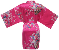 Hot Pink Bridesmaid Bride Wedding Robe Gown Ladies S Sexy Satin Rayon Nightgown New Floral PSleepwear