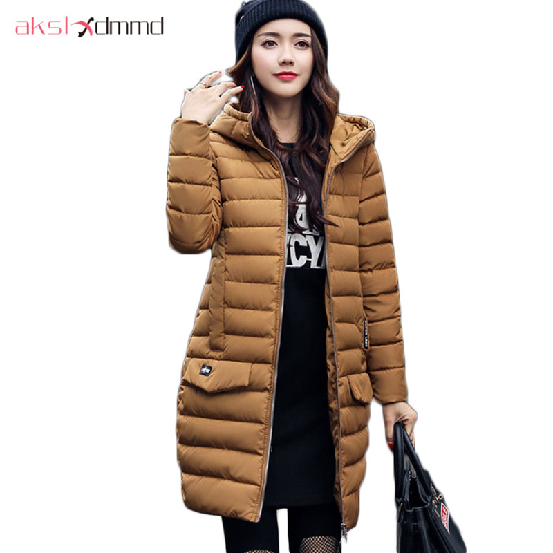 AKSLXDMMD Women Winter Jacket 2017 New Fashion Thick Padded-cotton Hooded Slim Warm Woman Coat Female Jackets Parka Mujer LH1081 akslxdmmd fashion casual winter thick hooded jacket 2017 new parka women parttern letters mid long coat female overcoat lh1227