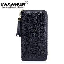 PAMASKIN 2018 Crocodile Pattern Female Clutches Purse Famous Brand Women Zipper Tassel Wallets 100 Guaranteed Cowhide