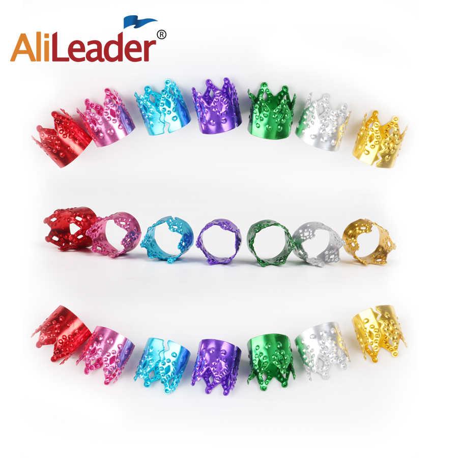 Alileader Extension de cheveux réglable tresse décoration couronne manchette Dreadlocks Tube perles anneau Clip broches ensemble argent et or