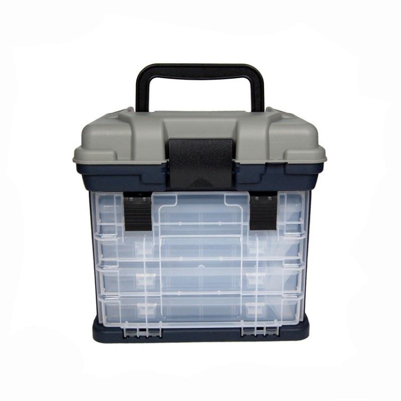 1 Pcs 26*16*26cm 4 Layer PP+ABS Fishing Tackle Box High Quality Plastic Handle Fishing Box Fishing Tools Storage Box