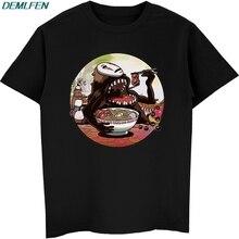 Anime Tees Ramen Cotton-Tshirt Studio Ghibli Short-Sleeve Streetwear O-Neck No Tops Eating