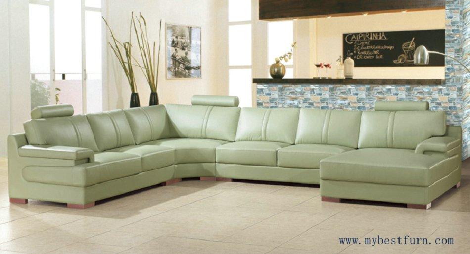 Envío Gratis beige sofá verde gran tamaño sofá de cuero real de ...