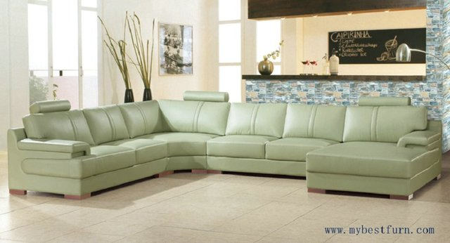 Free Shipping Beige Green Sofa Large Size Leather Sofa