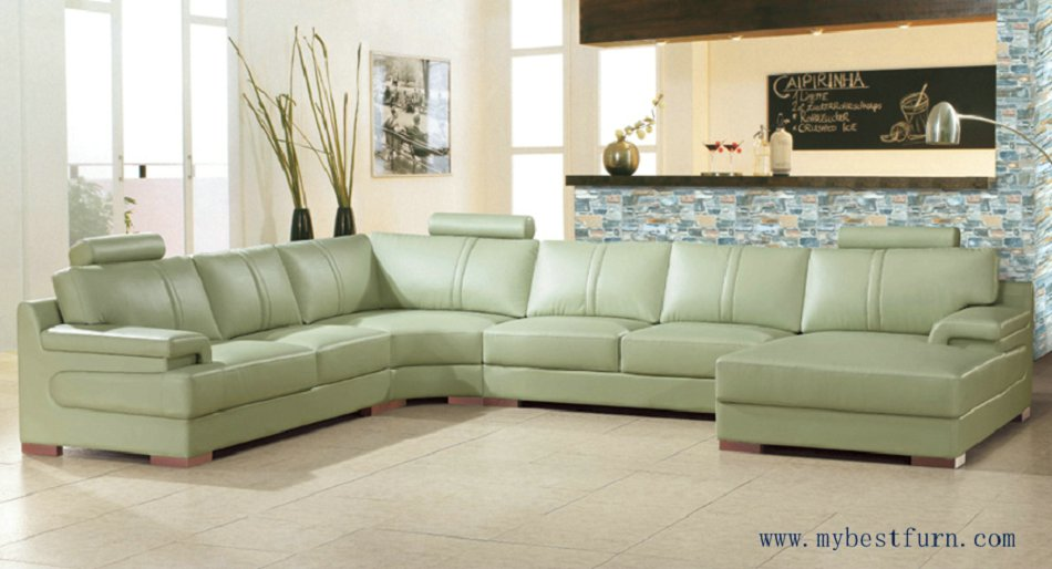 Free Shipping Beige Green Sofa Large Size Leather Real Cow Settee Modern Design Furniture