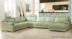 Spedizione Gratuita Beige Verde Divano Divano in pelle di Grandi dimensioni in Vera Pelle di Mucca Divano mobili di design moderno divano del soggiorno set