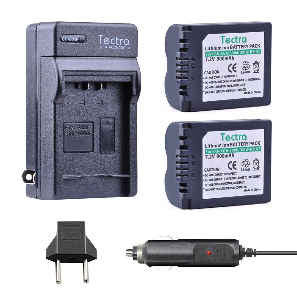 Tectra 2PCS CGA S006 CGA S006E Li ion Battery Digital Charger for Panasonic DMC FZ7 FZ8