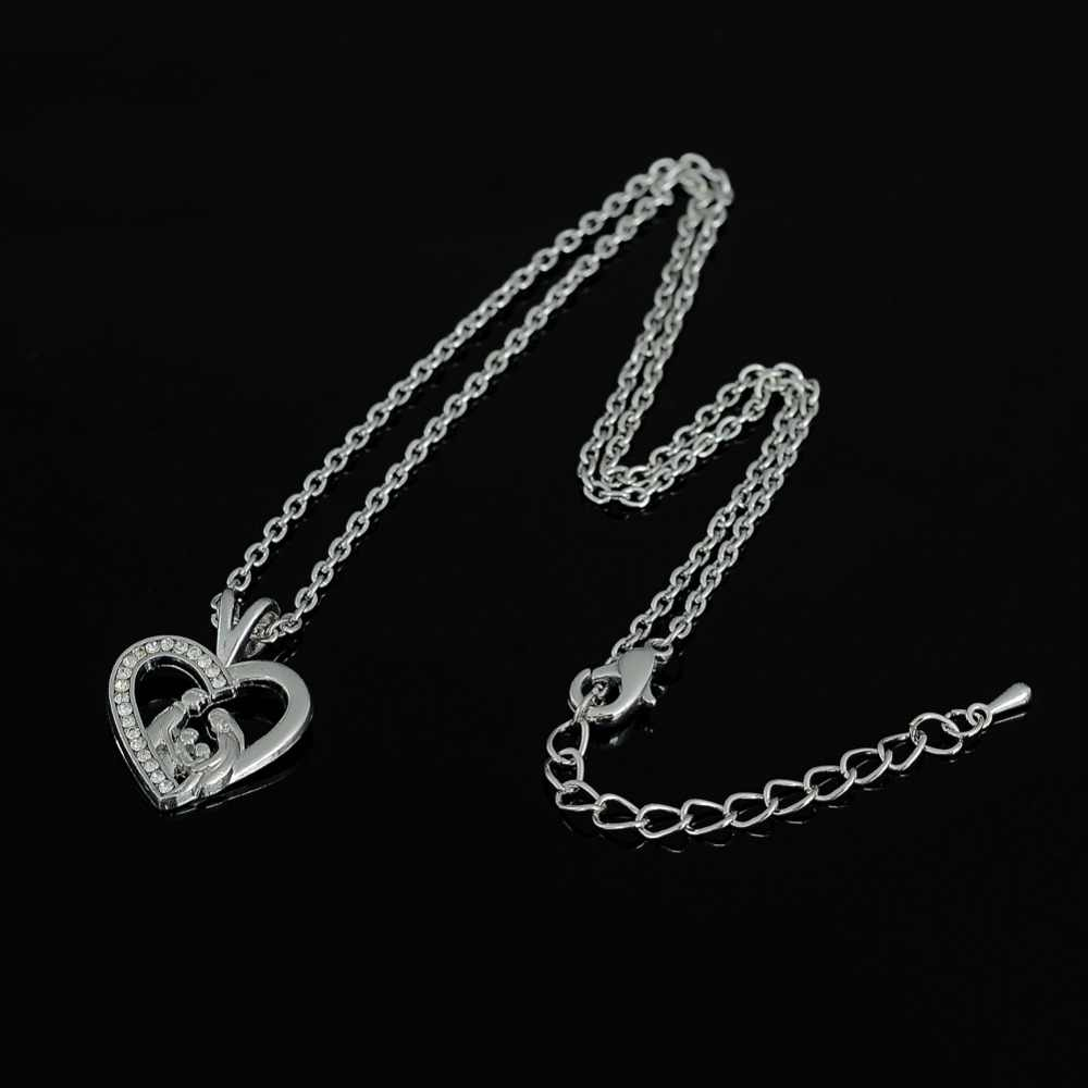 Mój kształt rodzina miłość w kształcie serca rodzic matka ojciec i 2 dzieci pamiątka Keepsake naszyjnik prezent dla matki dziecko dziecko